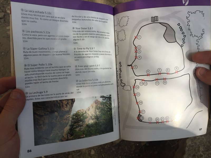 Routes on El Capitan Boulder from the Pena de Bernal guidebook.