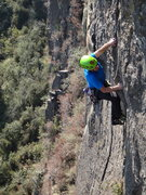 Rock Climbing Photo: Armando Dattoli climbing the 1st crux roof of Acro...
