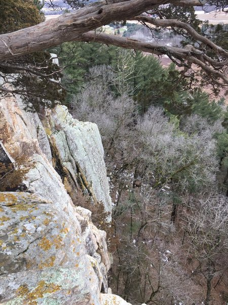 Rock Climbing Photo: Looking down on the top of a sport route climbers ...
