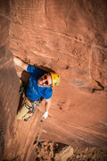 Rock Climbing Photo: Warm-Up Handcrack on Rez Wall.  Photo by Gaby Guym...
