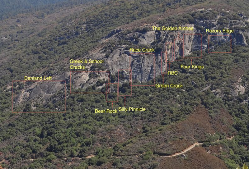 Overview of the Danland&#39;s right section of cliff.<br> Left section consists of Valhalla area, Water Crack, The Grassy Knoll, Alphabet Climbs, and The Three Sisters at the far end of the cliff.