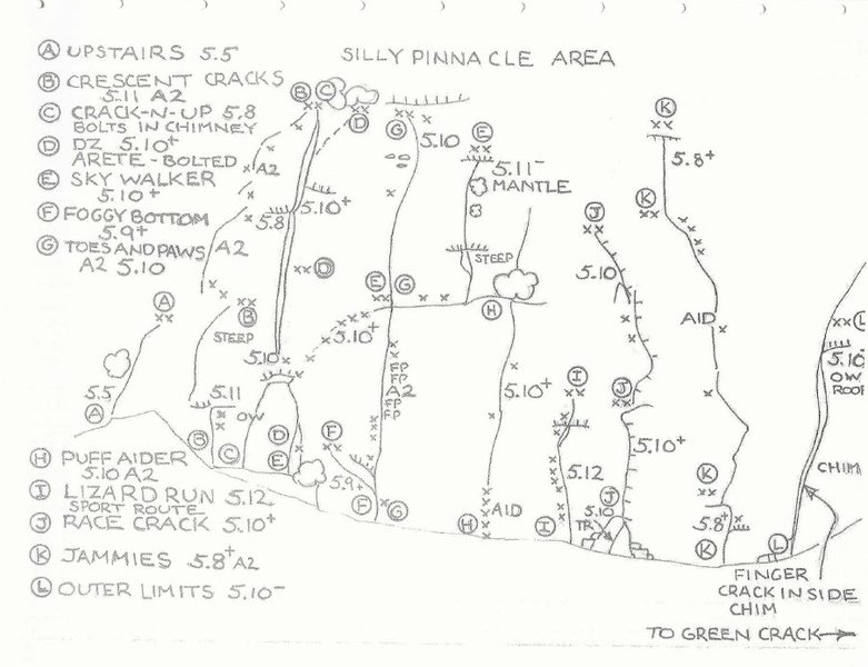 "Topos of the ""Silly Pinnacle Area""  or otherwise names Race Crack area on mountain project"