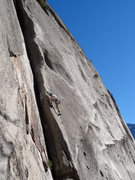 Leading the first pitch of the DZ arete. great route