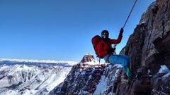 Rock Climbing Photo: Short rap down the crux in winter.
