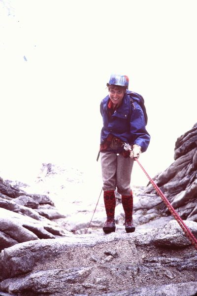Rock Climbing Photo: M-J Cross on the 2nd or 3rd rap, 1982 - No bolts t...