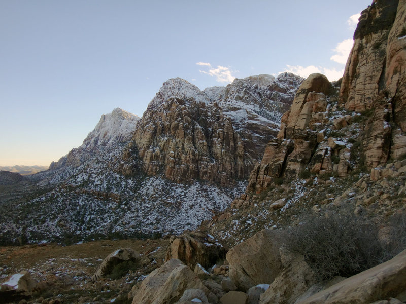 the view from Stick Gully in Pine Creek: plan on climbing at lower elevations and in the sun...