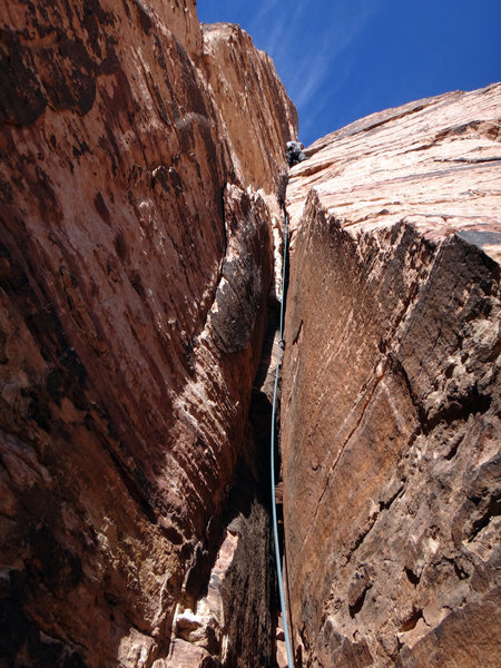 "Just in case you're thinking that ""couldn't find the climb"" is a legitimate excuse for not climbing Lake Mead Exotic Plant Control Crew, this is what the climb looks like from the belay; you can't miss it..."