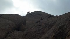 Rock Climbing Photo: Leading up the last bit.