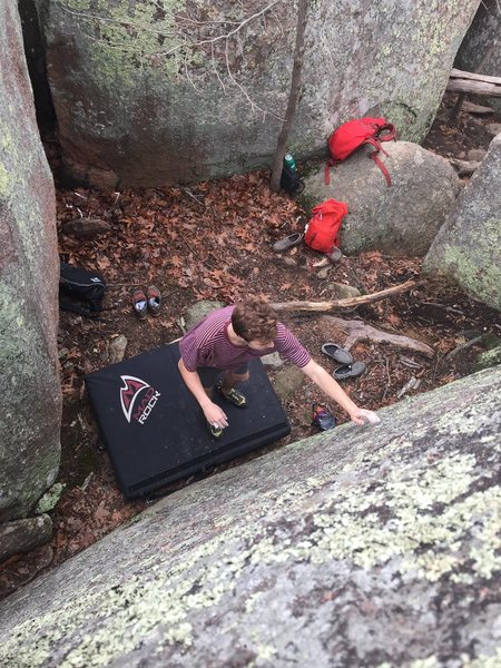In my opinion, this is a classic elephant rocks problem, grab the nothing and stand up. Super fun tiny crystal climbing.