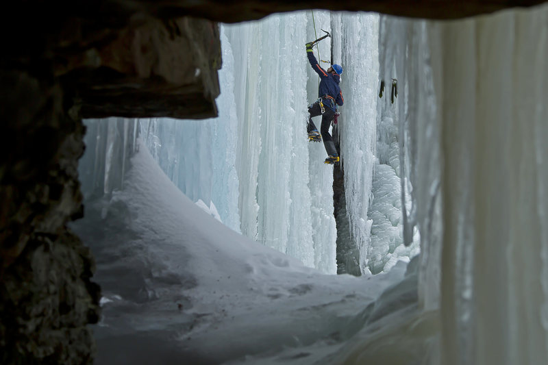 Rock Climbing Photo: Climbing Ice at the Glen 2015