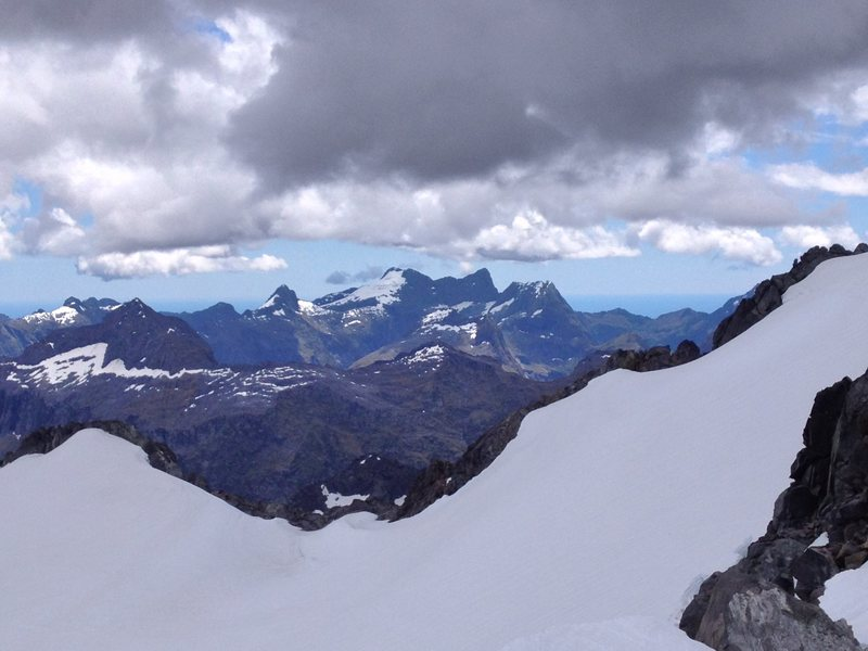 View of glacier on Mount McPherson and surrounding mountains of the Fiordland