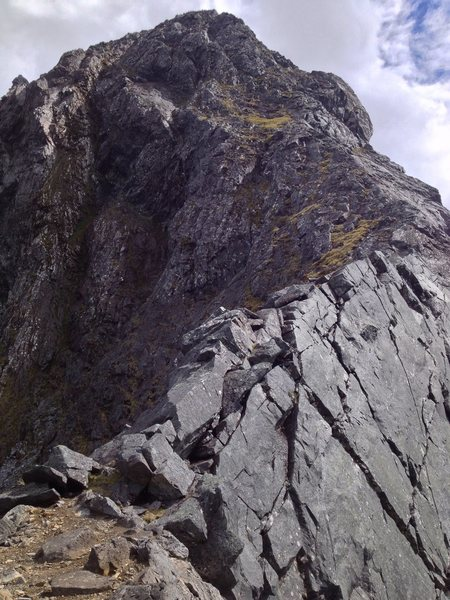 Looking up at Talbot's Ladder, from Homer Saddle