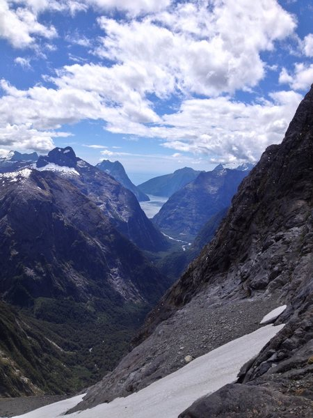 View from Gertrude Saddle, towards Milford Sound