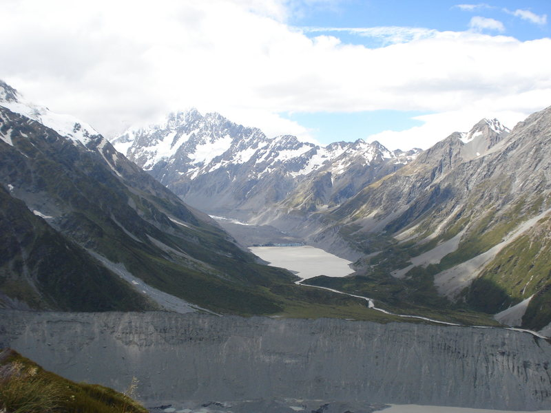 Start of Hooker Valley.  Glacial lake in background.