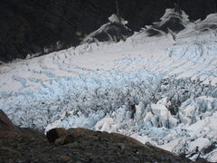 Rock Climbing Photo: Bird's eye view of the Hooker Icefall, from th...