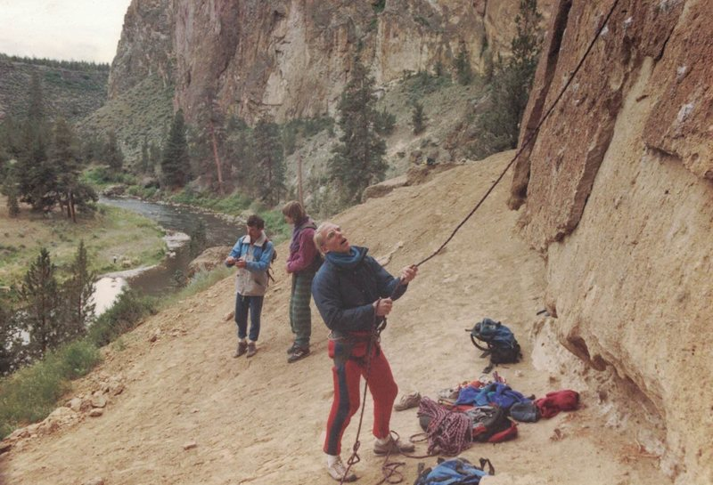 Good times- Tim Wilhelmi belaying Rich Ludwig- Martin in background- June 1988-