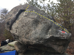 Rock Climbing Photo: Stitches runs right-to-left then up over the box.