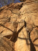Rock Climbing Photo: The start is the crux. The rest is balancing on po...