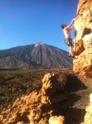 Climbing in Tenerife, with a 13,700ft volcano as ur backdrop...