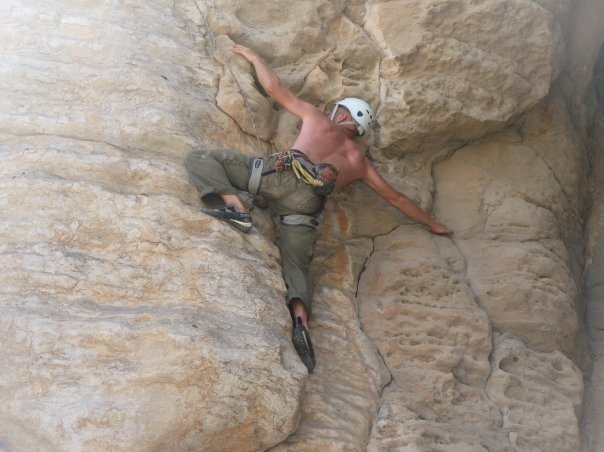 Working a new route (Pigeon Poo ~ 5.10d) on Top Rope in the UAE