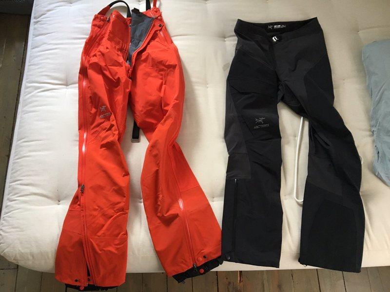 Rock Climbing Photo: Theta SV bib (left, orange)