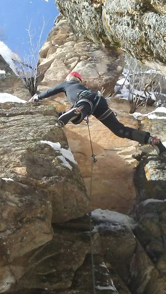 "Rock Climbing Photo: Stemming the ""groove""."