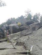 Rock Climbing Photo: drilling on the FA