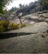 Rock Climbing Photo: Hobo on rappel. the route trends left of him and o...