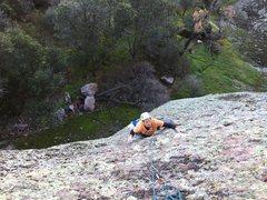 Rock Climbing Photo: Geoff coming up P1