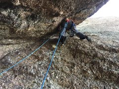 Rock Climbing Photo: Geoff heading up into the second chimney pitch. We...