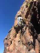 Rock Climbing Photo: Lin leading the gear variation of BVC