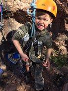 Rock Climbing Photo: He climbs so strong because he's packing heat
