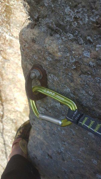 Rock Climbing Photo: Crux bolt...