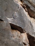 Rock Climbing Photo: Pic of the flake with pro placed below the first b...