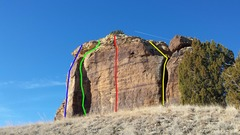 Rock Climbing Photo: Blue: Left Side, 5.9. Green: Corner Arete, 5.8. Re...