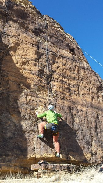 """Rock Climbing Photo: Sean on the opening moves of """"Finger Hole&quo..."""