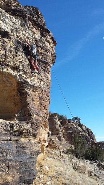 """Sean climbing """"Brain Line""""."""