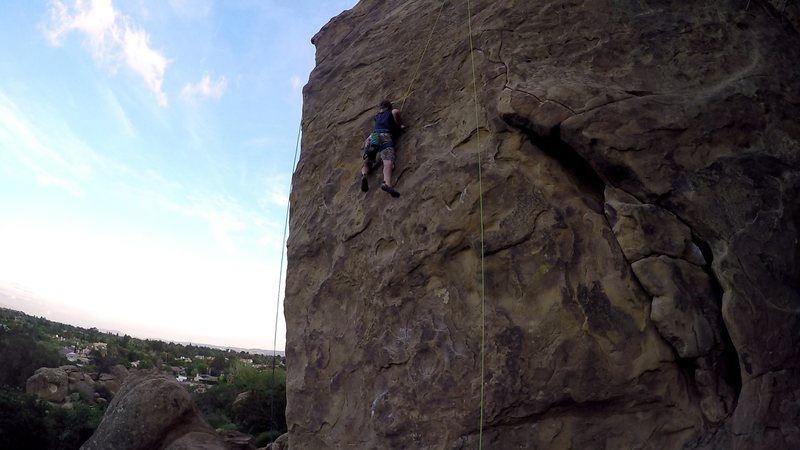 Just another warm-up run on Beethoven's Wall. Me climbing, one of my first times bringing my brother Chris out to Stony.