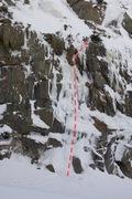 Rock Climbing Photo: Lando Calrissian climbs up the center of the photo...