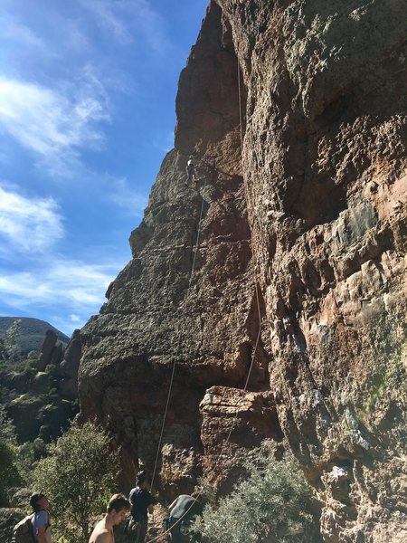 Rock Climbing Photo: Just clipped the first bolt on Broken Arrow. The r...