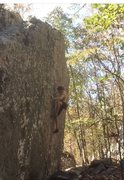 Rock Climbing Photo: Thin crimping up the face. Difficult right off the...