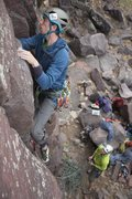 Rock Climbing Photo: Ben Smith works his way up the friendly twin crack...