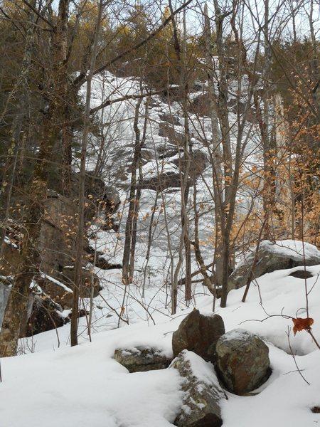North Slab area.  Arctic Cat climbs the prominent convex slab.