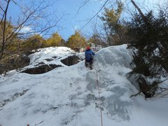 Rock Climbing Photo: Kathy leading on the first ascent. Arctic Cat is i...