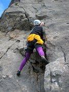Rock Climbing Photo: Start of Voie Chegevaroux.  Patty Black steps up a...