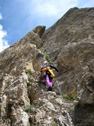 Rock Climbing Photo: Start of pitch 3 (the chimney pitch) of Voie des Q...