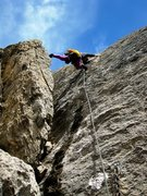 Rock Climbing Photo: Patty Black airing it out on the fourth pitch of V...
