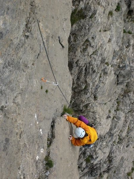 Rock Climbing Photo: Bottom of the fifth pitch of Voie des Quarantes