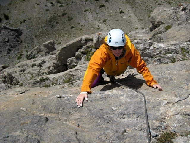 Top of Voie des Quarantes.  Patty Black finishing up the sixth pitch.