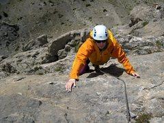 Rock Climbing Photo: Top of Voie des Quarantes.  Patty Black finishing ...